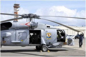 「シコルスキーSH-60Bシーホーク」ヘリコプターが太平洋航空博物館パールハーバーに到着
