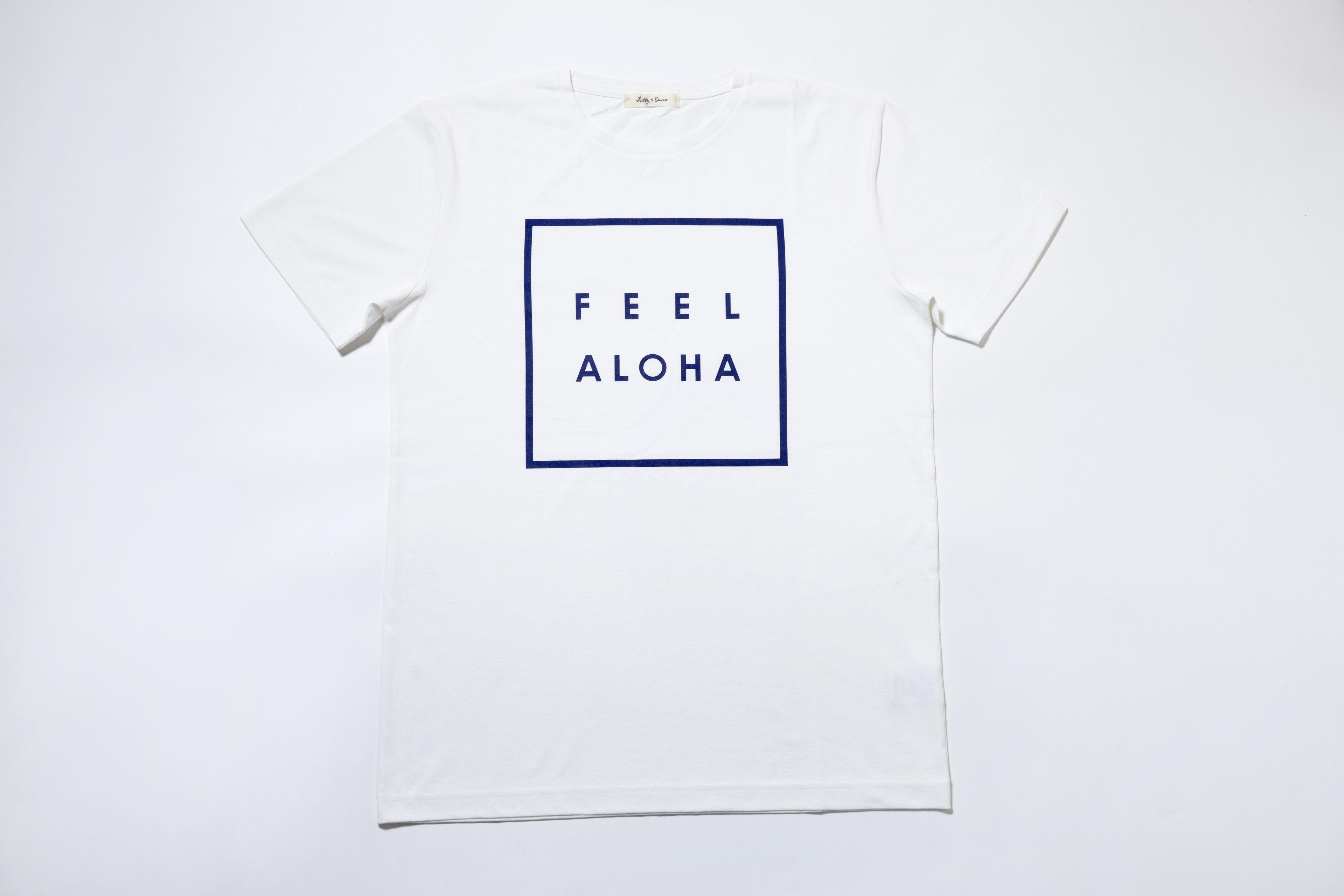 FEEL ALOHA Tシャツ(白×ネイビー)