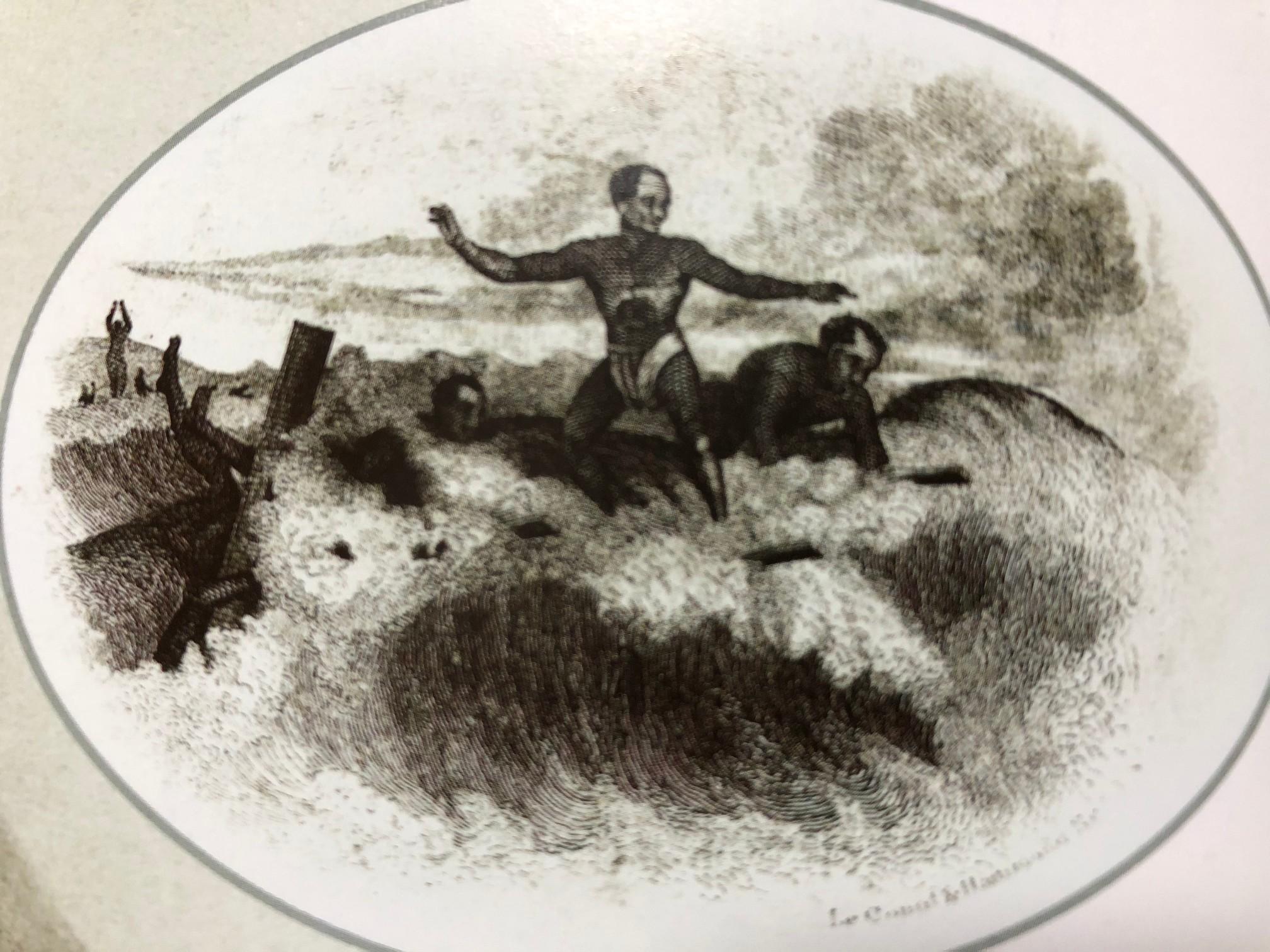 古代サーフィンの絵