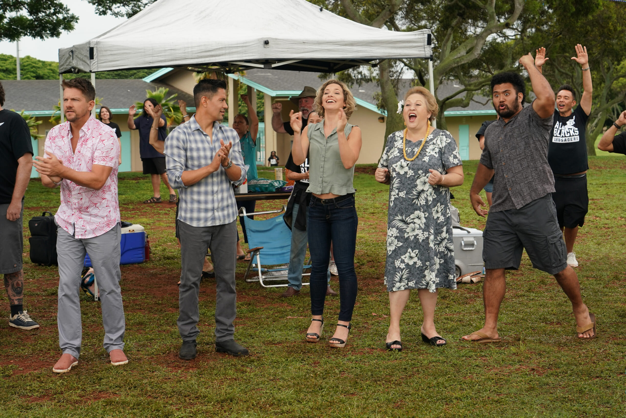 """Sudden Death"" -- Coverage of the CBS series MAGNUM P.I., scheduled to air on the CBS Television Network. Pictured L-R: Zachary Knighton as Orville ""Rick"" Wright, Jay Hernandez as Thomas Magnum, Perdita Weeks as Juliet Higgins, Amy Hill as Teuila ""Kumu"" Tuileta, and XXX Photo: Karen Neal/CBS ©2018 CBS Broadcasting, Inc. All Rights Reserved8"
