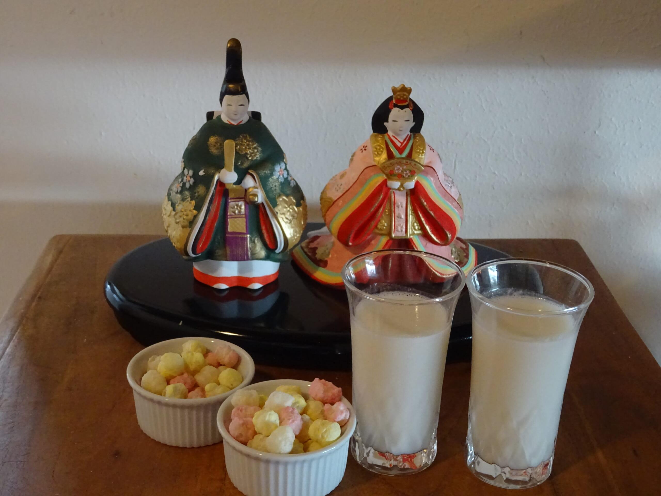 雛人形と甘酒
